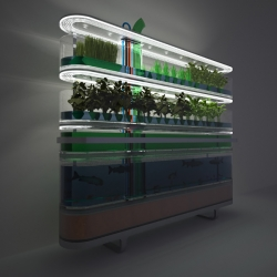 Biosphere home farm concept by Philips, stacking mini eco-systems together to enable at-home farming in your apartment.