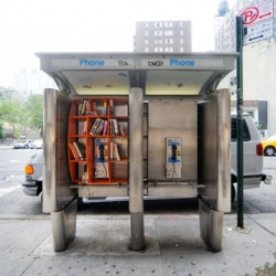 Architect John Locke repurposes Manhattan's largely obsolete phone booths into miniature public libraries.
