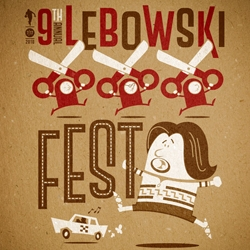 9th Annual Lebowski Fest poster by Bill Green, printed by Louisville's Hound Dog Press, perfect for your special lady friend or whathaveyou.