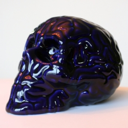 SkullBrain Bleu de Four Porcelain by Emilio Garcia, made in Limoges, France.