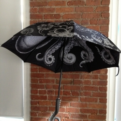 The Kraken Umbrella. Designed glorious to reflect the glory of The Kraken. Spread it's generous tentacles and protect yourself from all that nature may bring. (Coming soon to the Kraken online store!)