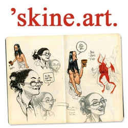 'skine art is dedicated to moleskine lovers and their art. Inspirational work from the notebook of a number of artists