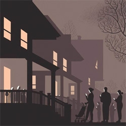 Cartoonist Chris Ware designed the November 2nd cover of The New Yorker. It shows children happily trick or treating while their parents huddle on the sidewalk, basking in the ominous glow of their iPhones. Scary, but true.