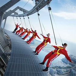EdgeWalk at the CN Tower, Toronto's most extreme attraction. Thrill lovers will walk on the edge of one of the world's tallest buildings, 356m/1168ft  above the ground.