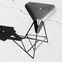 25 inch tall, three-legged, stainless steel stool. Designed and fabricated by Adan Bañuelos.