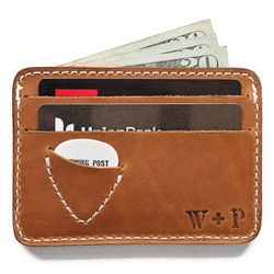 Whipping Post Leather has the perfect slim wallets for guitar players ~ Picker's Wallet! Cute little pick pouch built in!