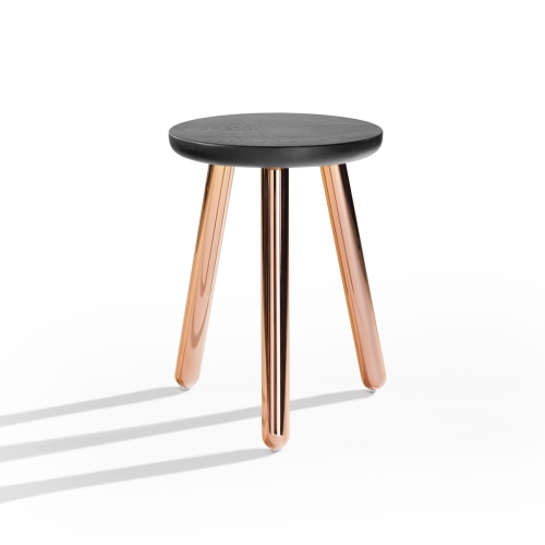Picket stool from Derlot Editions is part of the Picket family available in a range of sizes and finishes. Picket legs, made from stainless steel, can be ordered in a range of powder coat colours and metal finishes.
