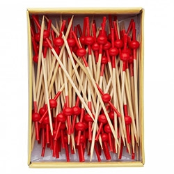 "Fun set of 100 bamboo sticks ""for nibbles, parties, vegetable skewers, cheese, fruit etc."""