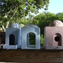 ken goldman's bird houses are inspired by vernacular architecture found throughout Israel. You can  reach ken at info@biblicalbeasties.com