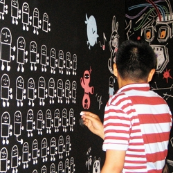 To kick off the Pictoplasma NYC conference, artists were invited to draw elaborate character illustrations on black boards during the opening party...