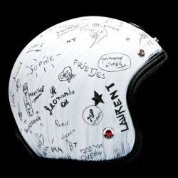 We love the juxtaposition of the finely crafted Ruby helmet with the rough grungy Martin Margiela handwriting covering it.