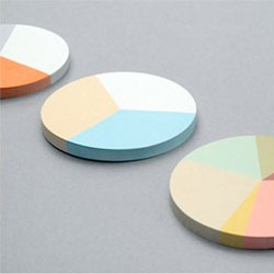 Pie chart sticky notes from Present&Correct.
