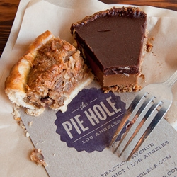 "The Pie Hole ~ Downtown Los Angeles's newest pie shop just wants to ""do right by the pie."" They have a cute shop full of a great selection of rotating handmade-from-scratch seasonal pies... and one filled with mac and cheese."