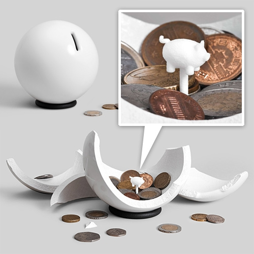 OTHR Nest designed by Lance McGregor. A 3D printed porcelain/steel piggy bank of sorts. Smash it open when full and get your nest egg out and see the tiny pig within.