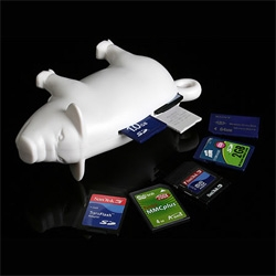 Nourish this Pig with your flash cards and watch it oink out the data so effortlessly! This piggy shaped USB doodad supports most of the memory card formats.