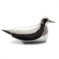 Pigeon with helmet in shiny platinum by Jaime Hayón.