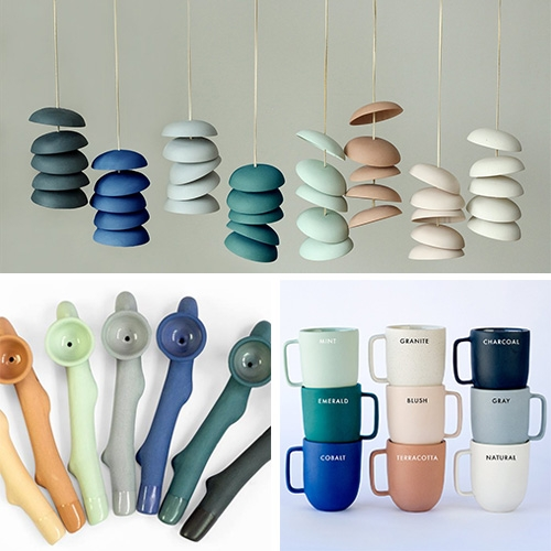 Pigeon Toe Ceramics in Portland, OR makes stunning pieces - from their gorgeous mugs and pots, to chimes, lights, pipes and more! (Their Biggie Mugs are a NOTCOT fave!)