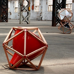 Australian Designer Henry Pilcher has designed Block 2, a light encased in an 'icosahedron' (20 identical equilateral triangles) and crafted from mountain ash, spun metal (shades) and colour-matched custom aluminium brackets.