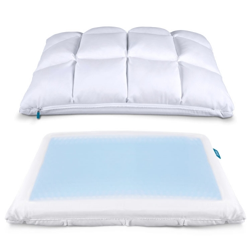 Leesa Hybrid Pillow - interesting design with a down-like quilted pocket side and a cooling side, as well as a pillow insert in the center that can be removed.