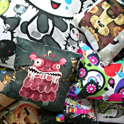 Monster Pillow Fight! Amazing new giant floor pillows and scatter cushions from Vault49, Alberto Cerriteño, Poked Studio and more...