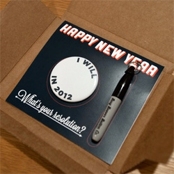 Fill-in-the-blank resolution pin + mini sharpie make for a fun new years card from our favorite button makers Busy Beaver Buttons!
