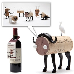 Corkers - pushpin like add ons that turn your wine/champagne corks into fun animals!