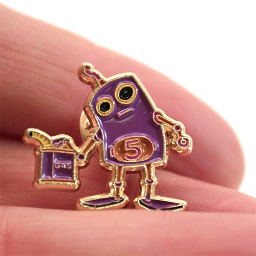 "Dave Pressler ""Pour Some Gas On The Problem"" Enamel Pin - A robot solution for our modern world."
