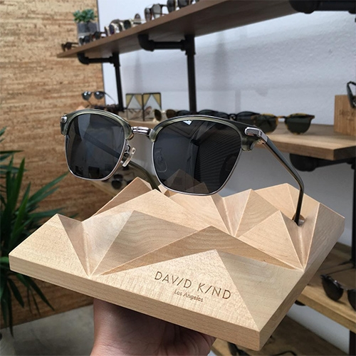 David Kind Katana Sunglasses in Pine (available in regular and prescription, as well as prescription eyeglasses) - The green pops in the sun even more in person! (P.s. Glasses stand made by NOTCOT!)