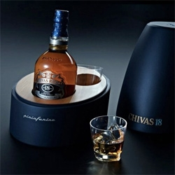 New Pininfarina have collaborated with Chivas to release a special edition packaged 18 year old Scotch.