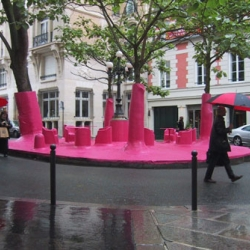 The Pink Ghost project by Périphériques Architects is a temporary installation that making an argument about the use of public space.