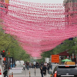 Pink Balls for Aires Libres in Montreal by Impact Production in partnership with Société de développement commercial - SDC du Village.