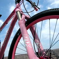 Speedgoat is just a little bike shop in PA, but with the help of custom painters  and artists they've raised almost $35,000 to fight breast cancer.  The custom-painted pink frame and fork on this year's high-end bike is amazing. Raffle tickets are just $10.