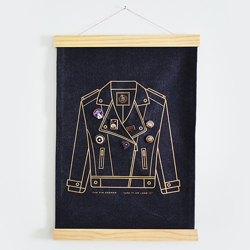 Pretty Useful Co. Pin Keeper - Screenprinted metallic gold on raw denim, the Pin Keeper has a built in pine frame and sturdy string for easy hanging.