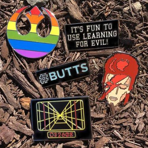 Diesel Sweeties Enamel Pins! It's fun to use learning for evil!