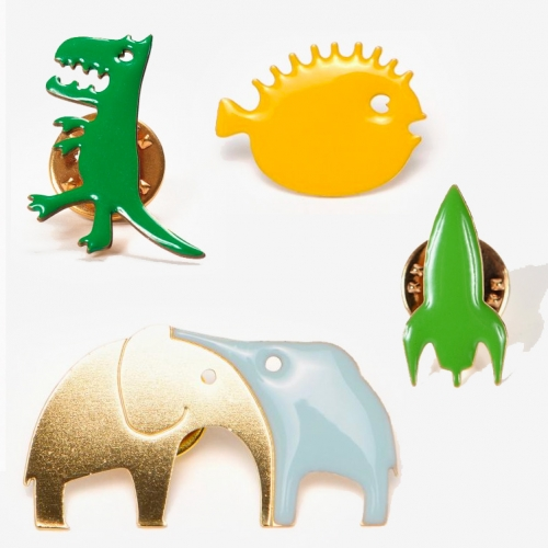 Titlee Paris Brass Lapel Pins with adorable creatures from hugging elephants, to dinos, puffers, bears, octopi, lobsters, foxes and more!