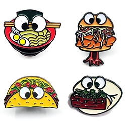 Hungry Eyes NY has ramen, taco, bao, fried chicken sandwich, burger, and donut pins/stickers with googly eyes.