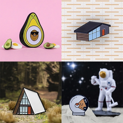 Christopher Lee's Night Cake Press Enamel Pins. (Shown here: Gudecado, A-Frame, MCM, Explorer.) Cute photography of each in a little scene!