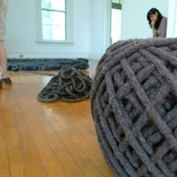 Giant knits by Christien Meindertsma are a part of Pioneers of Change, the Droog-sponsored exhibit on New York City's Governor's Island.