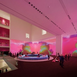 """""""Trippy bliss"""" indeed! Soothing, sensually intoxicating … look at Pipilotti Rist's hot, womanly transformation of the normally cerebral, rationally cool MoMA interior."""