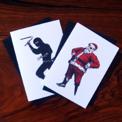 Punkahontas has some pretty funny pirate santa vs jewish ninja holiday cards