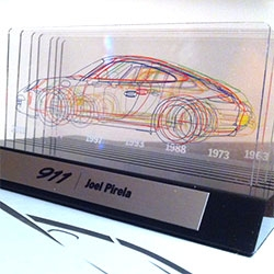 Joel Pirela shares the customized Porsche 911 slides showing the history of 911 silhouettes