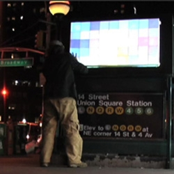 The Pixelator aims to turn those ugly, blinding video billboard ads into art. It's an unauthorized on-going video art performance collaboration with the NYC MTA, Clear Channel, and selected artists.