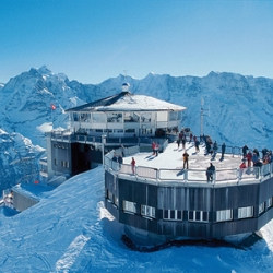 On top of the Shilthorn in the Bernese Alps, you'll find a mountaintop pavilion named Piz Gloria, complete with rotating restaurant and 33 miles of slopes. If it looks like you've seen it in a Bond movie, there's a reason...