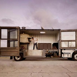 Del Popolo is a mobile pizzeria in a twenty-foot transatlantic shipping container. The truck roams San Francisco and you can find it via their website or twitter.