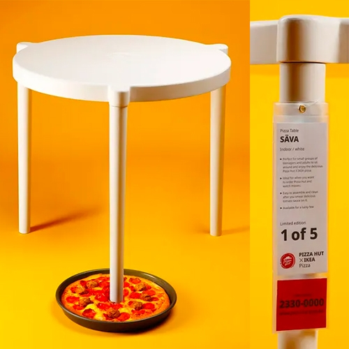 "IKEA x Pizza Hut Säva table - on surprising collaborations, IKEA Hong Kong has created a limited edition table that is a giant version of those tiny ""pizza savers"" that come in pizza boxes."