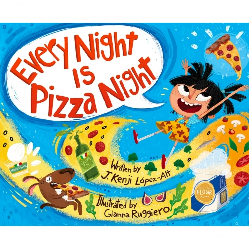 """Every Night Is Pizza Night"" by J Kenji Lopez-Alt. This adorable kids book comes out in Sept 2020, and Kenji just did a reading of it on instagram. So fun, delicious, scientific, and beautifully illustrated (with the dog, Mozzarella hidden on every page!)"