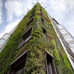 Ever wonder what eco-friendly building of the future might look like? Here's a sneak peak! 8-story antigravity forest facade takes root.