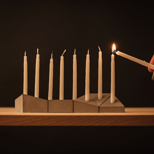 Miracle - A Hanukkah Menorah from Logifaces. The concrete blocks from their logic puzzle game adapted into a special Hanukiah Logifaces edition.