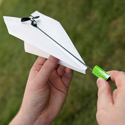 Electric Paper Airplane Conversion Kit - Paper Airplanes have always been fun, especially with a tiny propeller on it. No longer are you at the mercy of gravity.