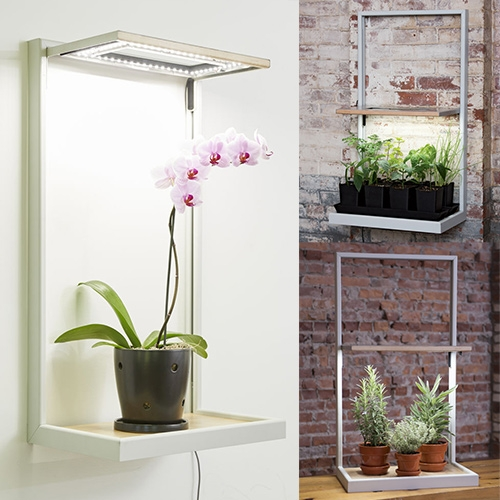Coltura LED Grow Lights Frame. 56 LEDs shine in a spectrum that's optimized for plants. Mount on a wall or display on a tabletop. The magnet system lets you adjust the height of the light panel. Made in Vermont by Gardener's Supply.